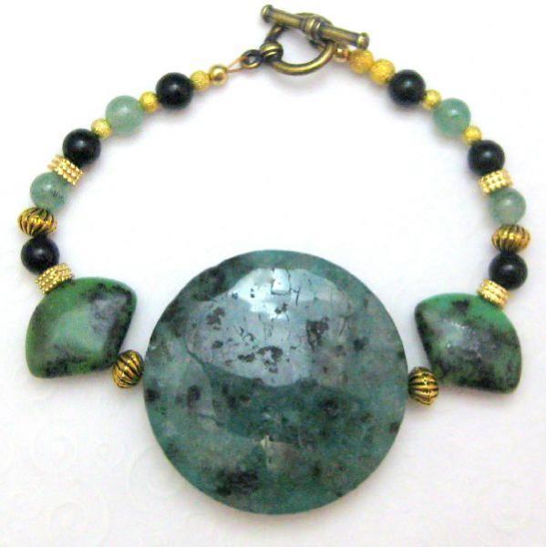 Gold and Green Handmade Bracelet Jasper Onyx Egyptian Turquoise