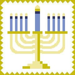 Hanukkah Festival of Lights Menorah 9 Branch Candles C2C Crochet Pattern PDF