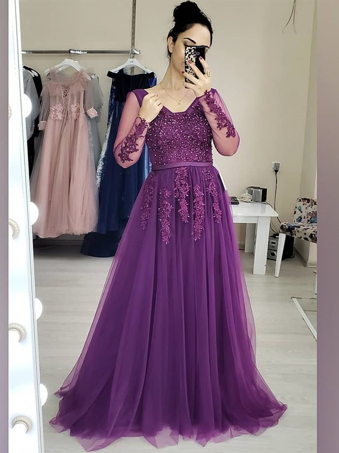 Purple Long Sleeves Tulle with lace Applique Floor Length Party Dress, Purple