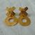 vintage matte hammered gold XO clip on dangle earrings