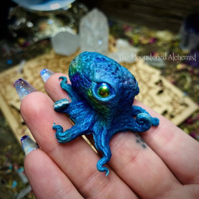 SALE Indigo Sculpted Octobabe with Titanium Aura eyes