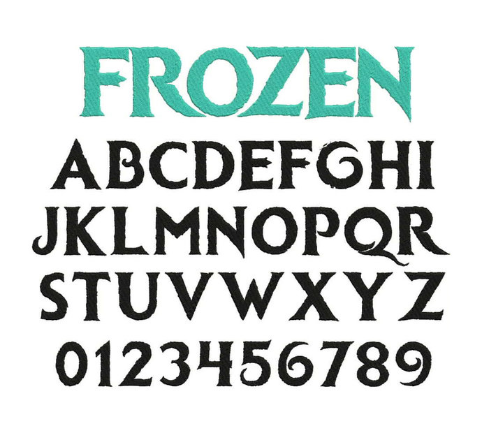 Frozen font for machine embroidery Frozen font pes Embroidery applique fonts Ice