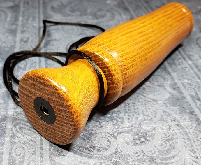 Exotic yellowheart wood hand-turned pocket game call or squawker
