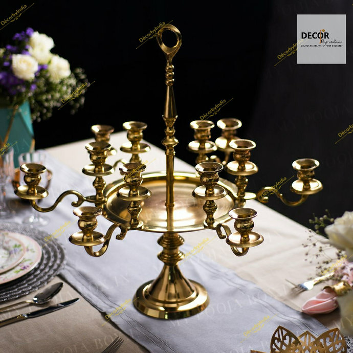 Royal Dinner Table Candle Stand - Brass Candle Stand