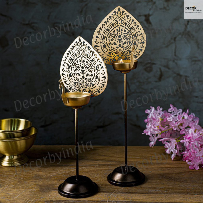 Peacock Shaped Metal  T-Light Stand Set of 2