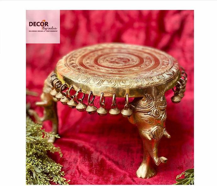 Large Handcrafted Brass Stool (Chowki)