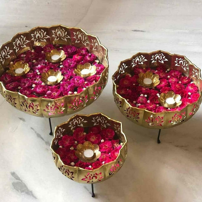 Handmade Brass Urli ( Flower Floater) Set of 3 with Stand