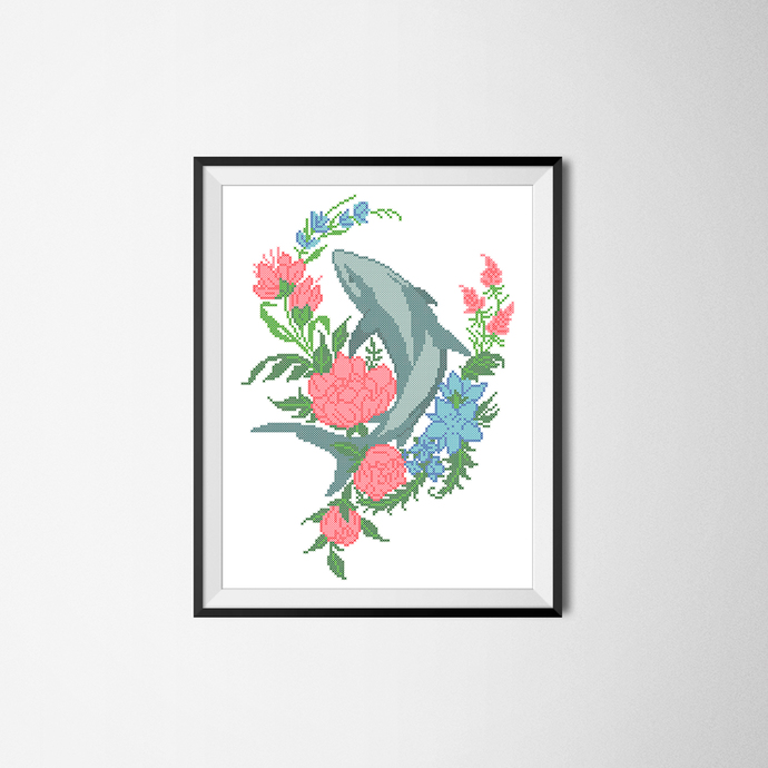 #470 Dolphin with flowers, marine life Modern Cross Stitch Pattern, counted