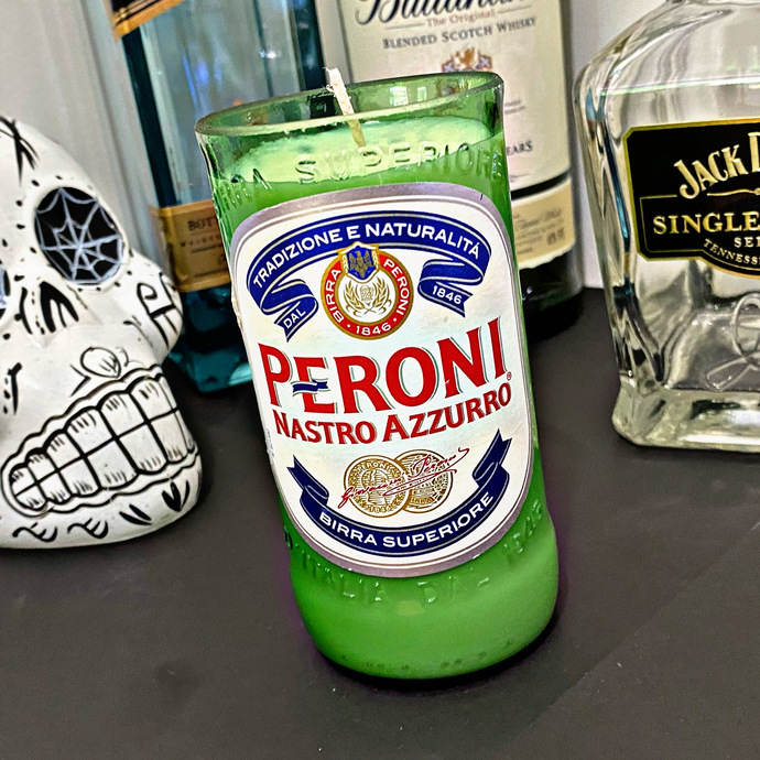 PERONI ITALY Beer Candle, Soy Wax, Bottle, Decor, Handmade, Handcrafted, Office,