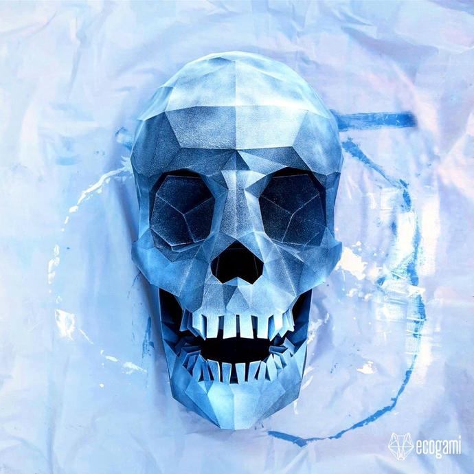 Human skull papercraft sculpture, printable 3D puzzle, papercraft Pdf template