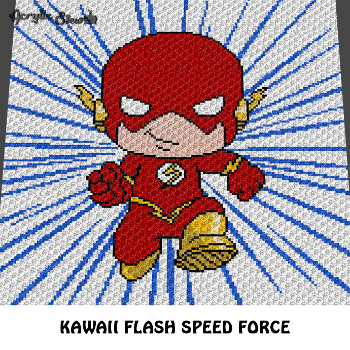 The Flash Kawaii Chibi Mini DC Comic Super Cartoon Character crochet graphgan