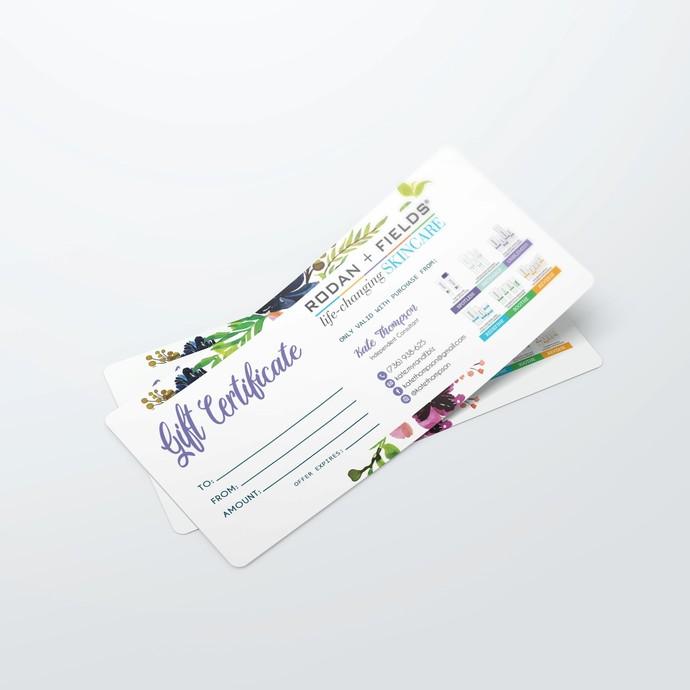 Floral Rodan + Fields Gift Certificate, Rodan and Fields Gift Card, Rodan and