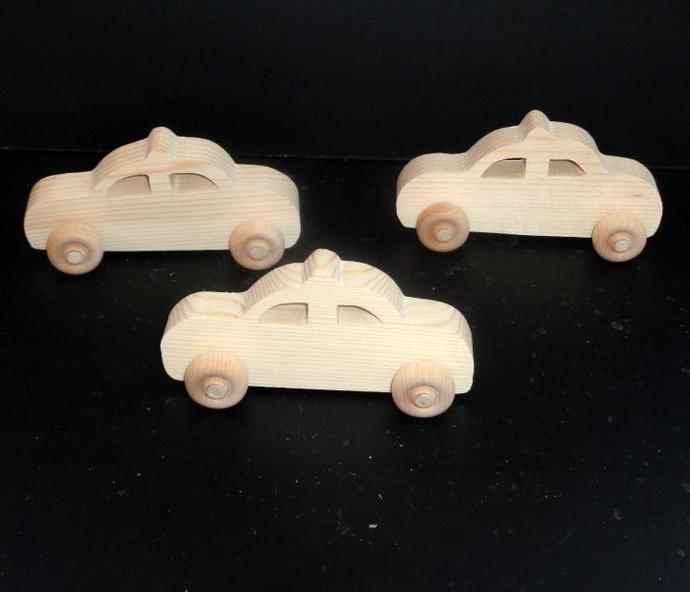 Pkg of 3  Handcrafted Wood Toy Taxi or  Police Cars 307BH-U-3  Unfinished or