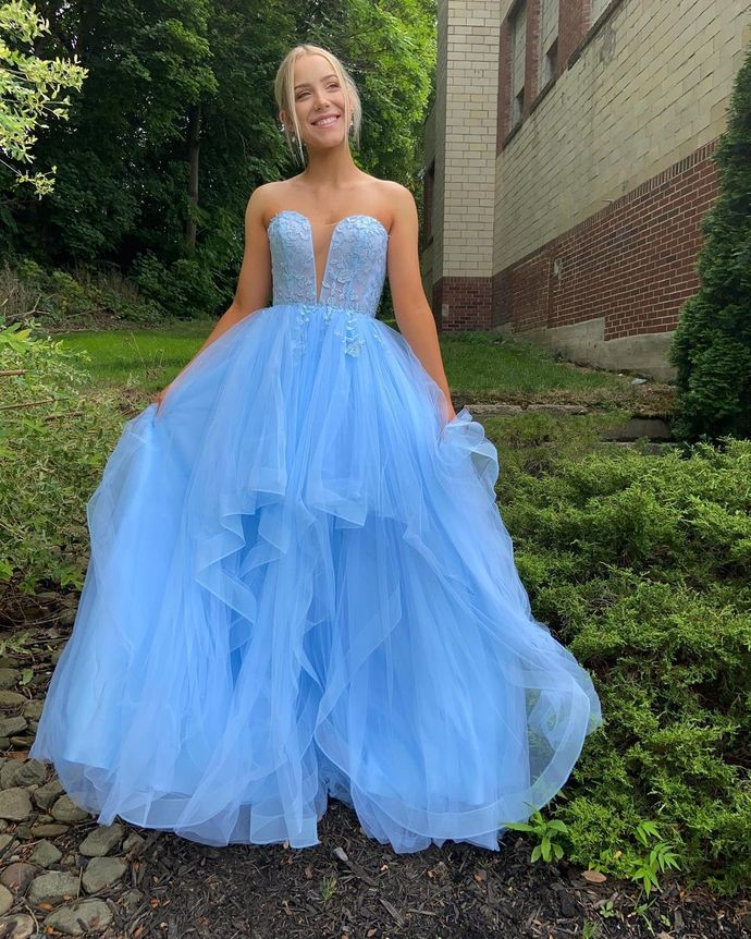 Blue Prom Dress,A-Line Prom Gown,Sweetheart Evening Dress,Tulle Prom Gown 019