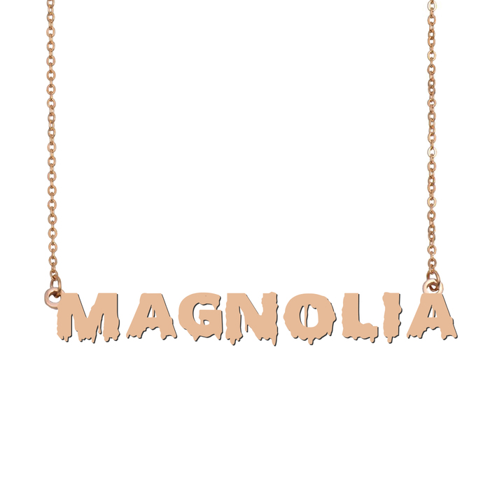 Custom Magnolia Name Necklace Personalized Gift for Halloween Easter Christmas