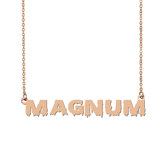 Custom Magnum Name Necklace Personalized Gift for Halloween Easter Christmas