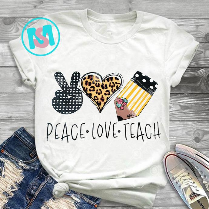 Peace Love Teach PNG, Teacher PNG, Merry Christmas PNG, Digital Download