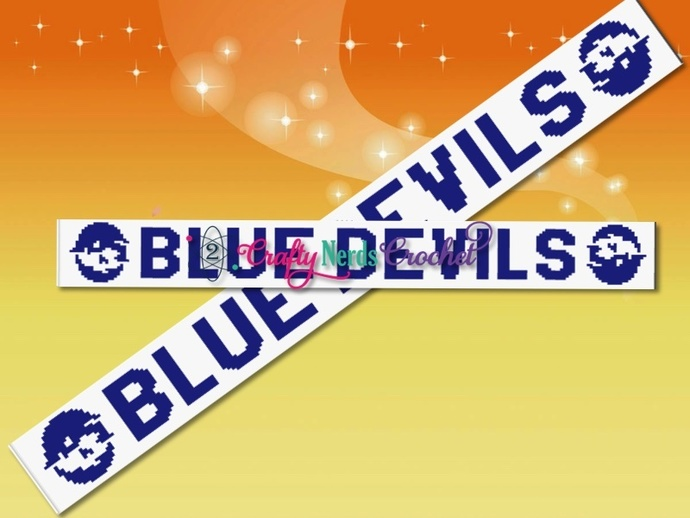 Blue Devils Scarf Pattern Graph With HDC Written