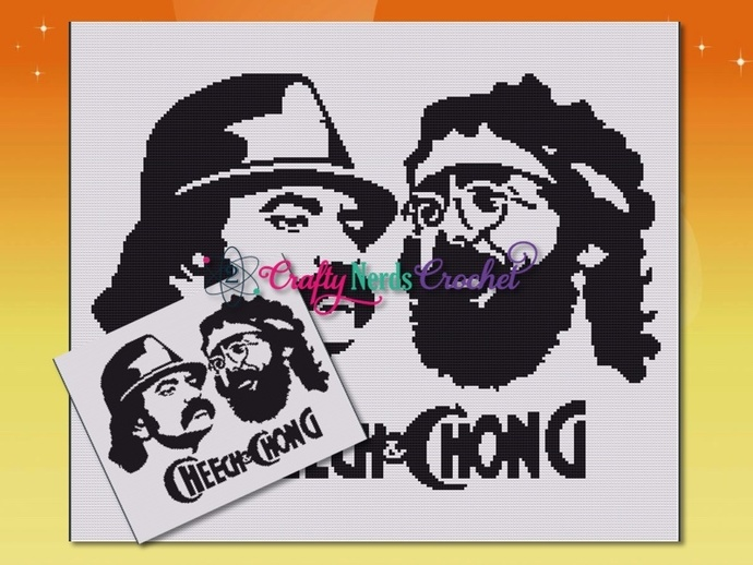 Cheech And Chong Silhouette Pattern Graph With Single Crochet Written