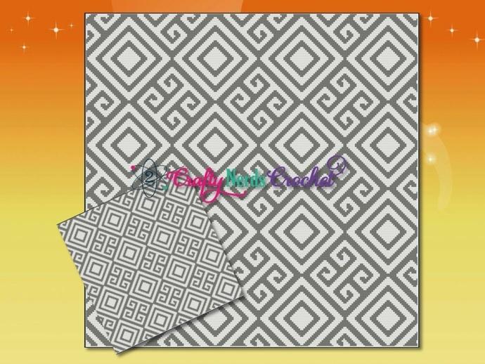 Greek Meander Angled Pattern Graph With Single Crochet Written