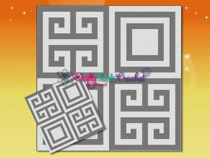 Greek Meander 2x2 Pattern Graph With Mini C2C Crochet Written