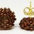 Beaded Circle Stud Earrings - Metallic Brown with Gold Posts