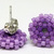 Beaded Circle Stud Earrings - Lavender with silver posts