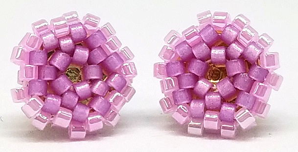 Beaded Circle Stud Earrings - Lilac with Gold Posts