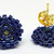 Beaded Circle Stud Earrings - Navy Blue with Gold Posts