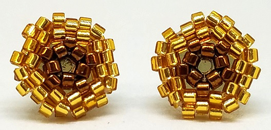 Beaded Circle Stud Earrings - Golden Brown with Gold Posts
