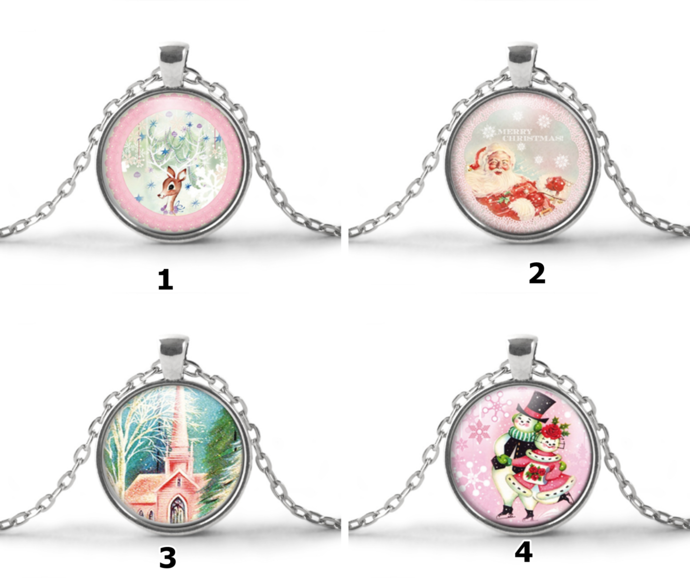 Shabby pink Christmas necklaces, Skating Mr. Mrs. Snowman, country church, pink