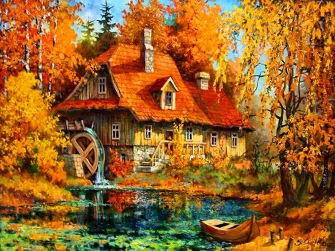 Autum Water Wheel Cross Stitch Pattern***LOOK***X***INSTANT DOWNLOAD***