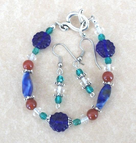Petite Silver Handmade Bracelet and Earrings Set in Blue and Green