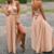champagne bridesmaid dresses long convertible satin cheap a line custom wedding