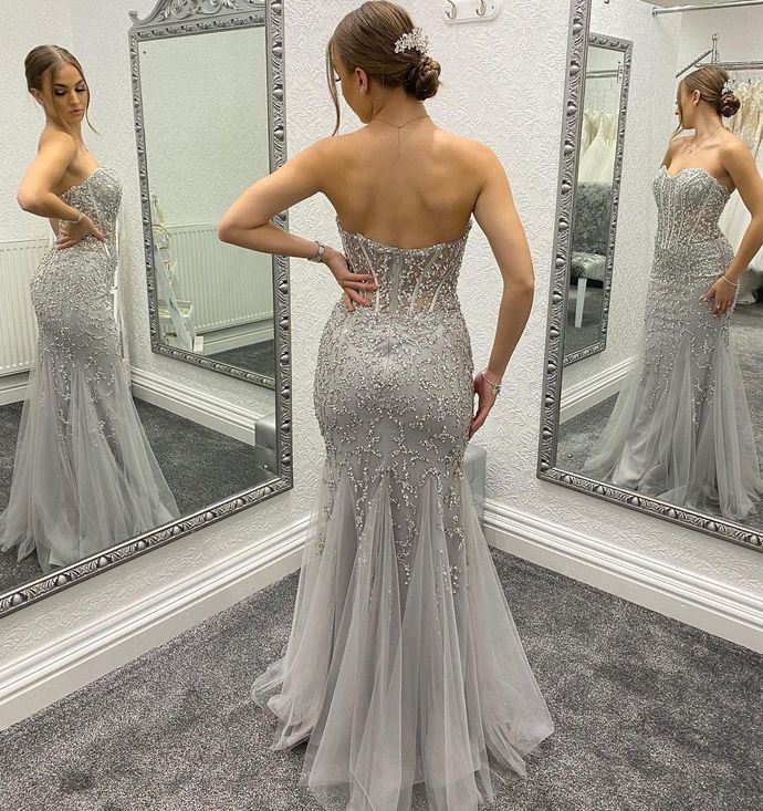 Charming Prom Dress,Mermaid Prom Gown,Tulle Evening Dress,Beading Prom Gown 022