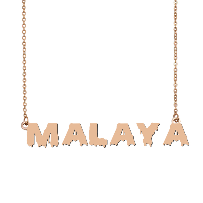 Custom Malaya Name Necklace Personalized Gift for Halloween Easter Christmas