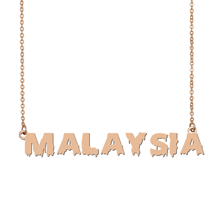 Custom Malaysia Name Necklace Personalized Gift for Halloween Easter Christmas