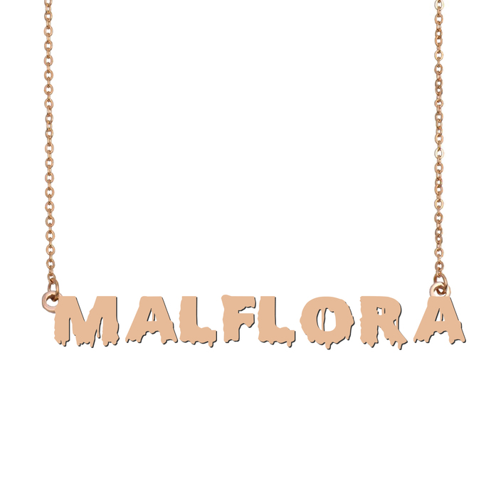 Custom Malflora Name Necklace Personalized Gift for Halloween Easter Christmas