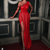red evening dresses long beaded long sleeve lace applique mermaid modest simple