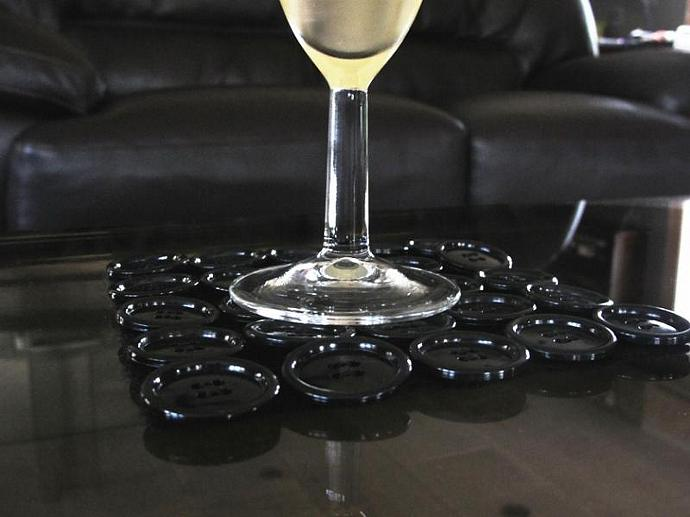 Basic Black Button Coasters