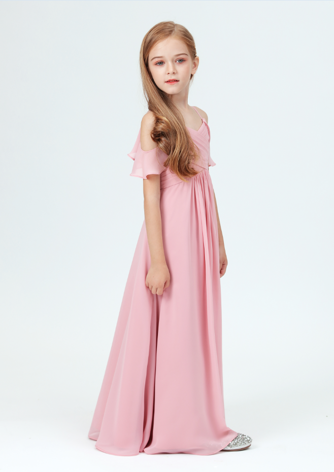 Flower Girl Dresses,Little Bridesmaid Party Off-Shoulder Ruffled Sleeves Dress