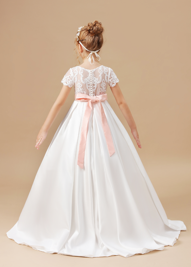 Flower Girl Dresses,Flower Girls Butterfly Pink belt Dress Wedding Party