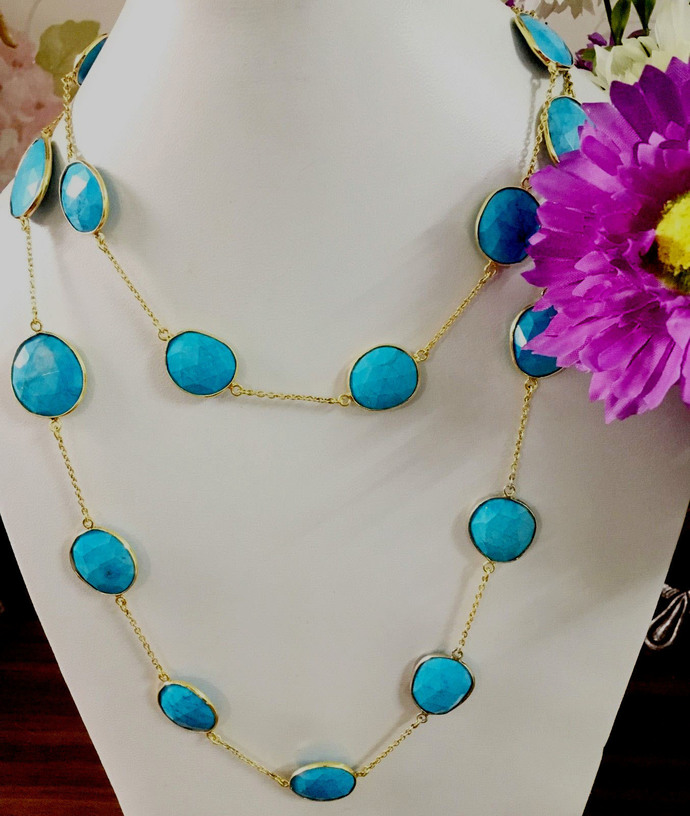 925 Sterling Silver Turquoise Bezel Connector Chain,Turquoise Connector
