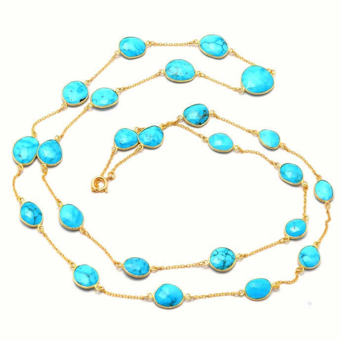 925 Sterling Silver Turquoise Bezel Connector Chain,Turquoise Gemstone Bezel