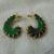 vintage dark green purple gold threaded hook style pierced earrings enamel