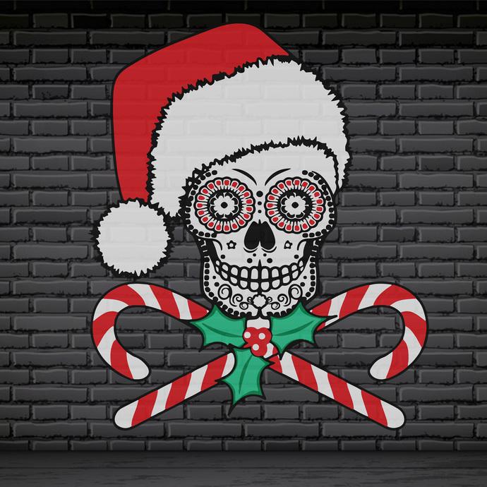 Bundledigital Christmas Skull SVG, Christmas candy SVG, Chrismas SVG, Merry