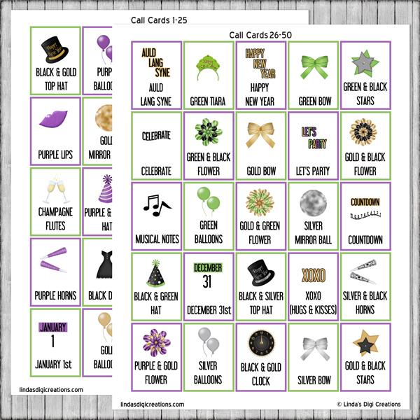 Printable New Year's Eve Bingo game