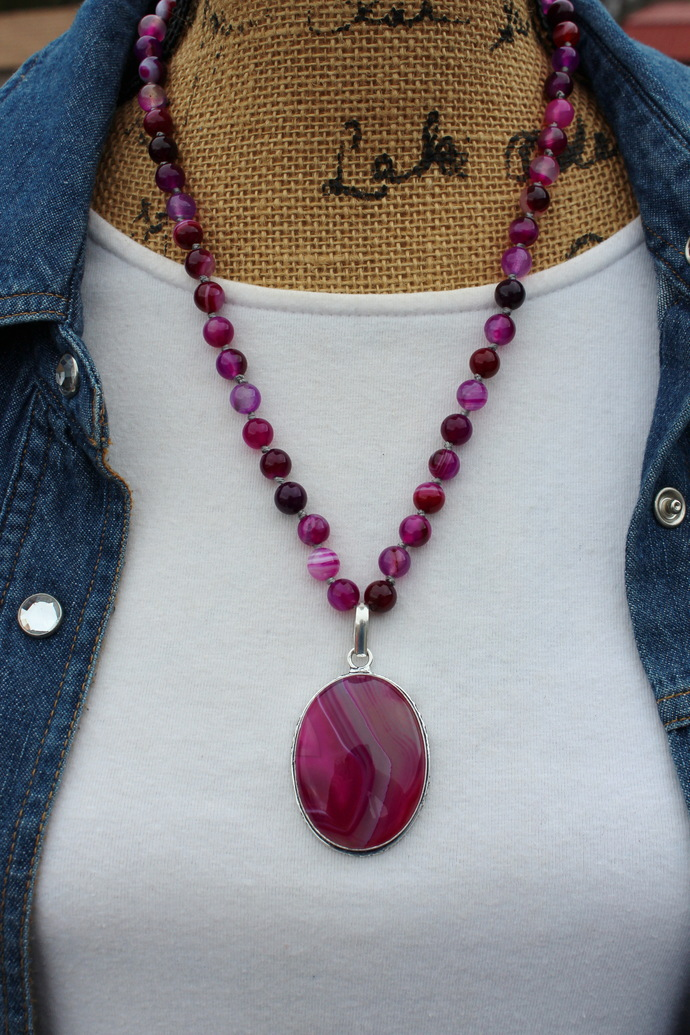 The Stability Necklace, Hot Pink Agate Beaded Necklace, Pink Gemstone Jewelry,