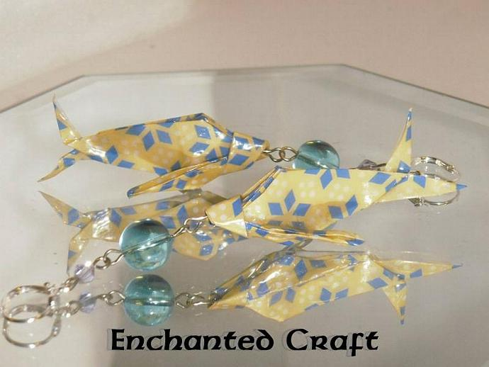 Yellow Origami Fish Earrings