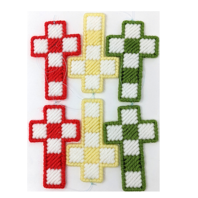 Easter Cross Christmas Ornaments Red Green Yellow